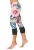 Sport Band Modella 3/4 Leggings - Long Cuff - Black Accent on Flower
