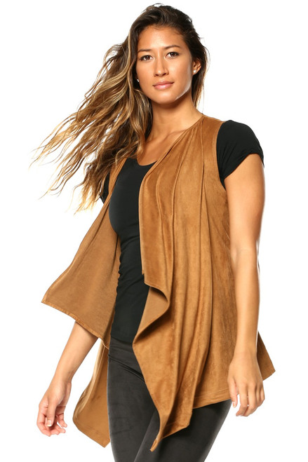Sleeveless Wrap Vest - Stretch Suede