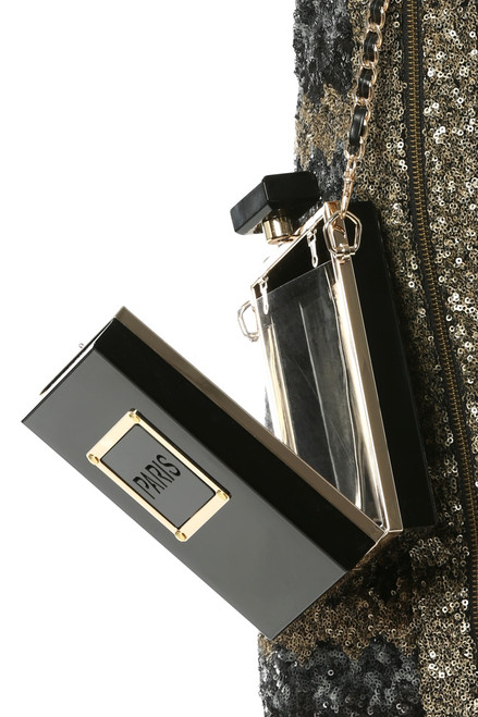 Black Paris Perfume Bottle Clutch - FINAL SALE (1 Available)