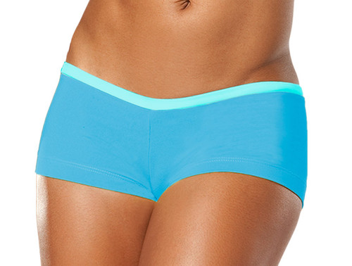 """Cover Girl Shorts - FINAL SALE - LIGHT TURQ ON BRIGHT TURQ - SMALL - 1.5"""" INSEAM - SIDES (1 AVAILABLE)"""
