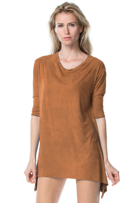 Stretch Suede T-Shirt - FINAL SALE - CHOCOLATE - XS/S (1 AVAILABLE)