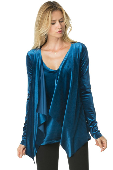 Long Sleeves Wrap Top - Stretch Velvet