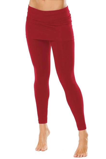 "Transformable Skirt Leggings - Dark Red on Dark Red - Final Sale - Medium - 27"" Inseam (1 AVAILABLE)"
