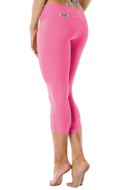 Sport Band Side Gather 3/4 Leggings - Supplex - Candy Pink - Final Sale