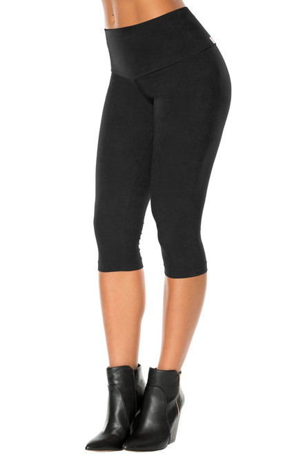 Stretch Suede High Waist 3/4 Leggings - Tight