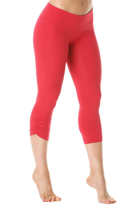 Sport Band Side Gather 3/4 Leggings - Supplex - Vegas Red - Final Sale