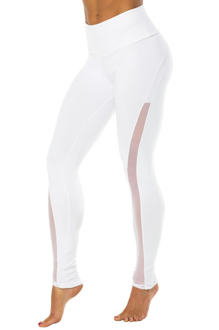 Solstice High Waist Leggings - Mesh Accent on Supplex
