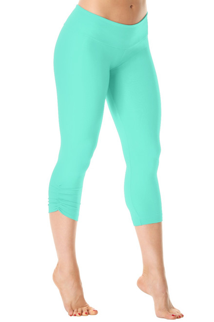 Sport Band Side Gather 3/4 Leggings - Supplex