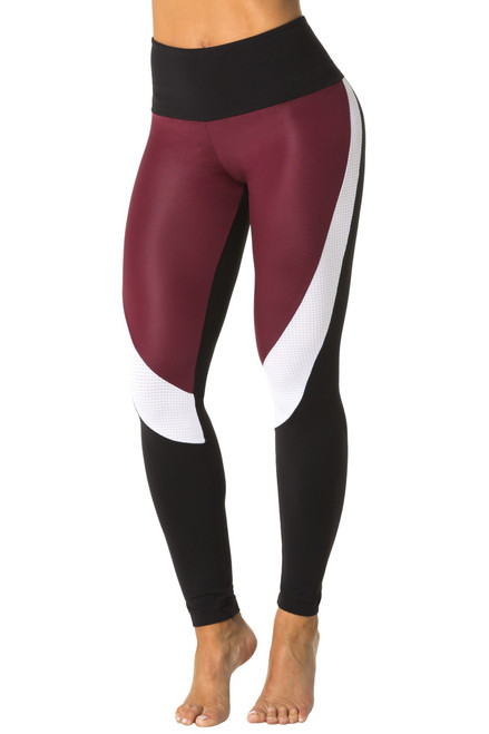 High Waist Chromatic Leggings - Sport Mesh Accent on Wet/Supplex