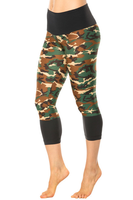 High Waist Modella 3/4 Leggings - Long Cuff - Supplex Accent on Brushed Print