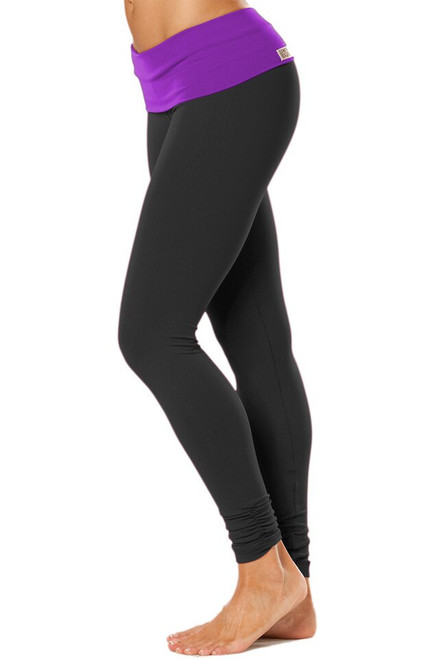 Rolldown Ankle Gather Leggings - Contrast Color Supplex