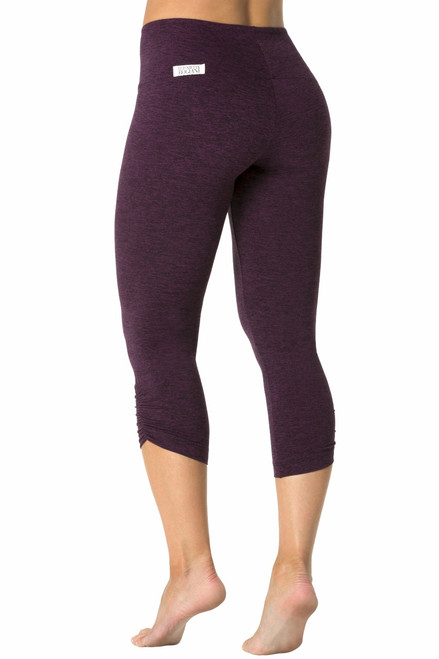 High Waist Side Gather 3/4 Leggings - Double Weight Butter