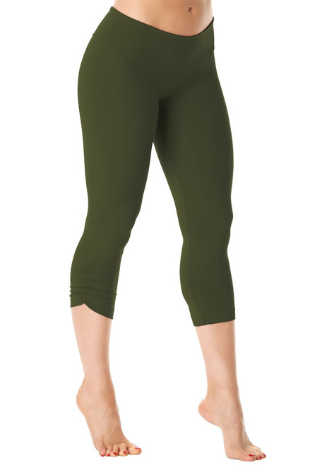 Sport Band Side Gather 3/4 Leggings - Supplex - Army - Final Sale -XS