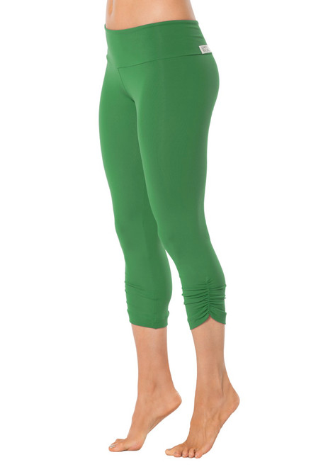 Sport Band Side Gather 3/4 Leggings - Supplex - Emerald - Final Sale