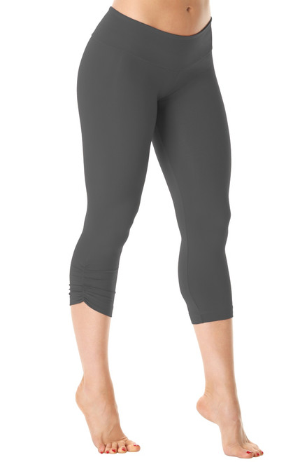 Sport Band Side Gather 3/4 Leggings - Supplex - Metal - Final Sale