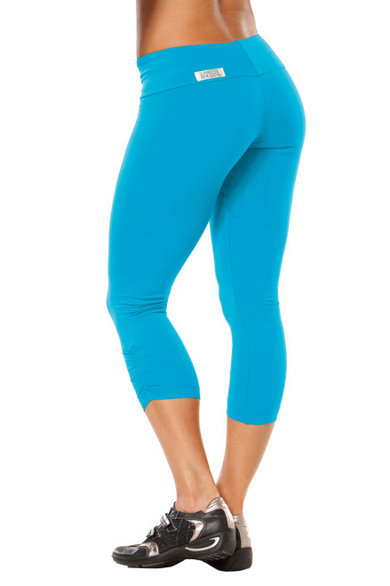 Sport Band Side Gather 3/4 Leggings - Supplex - Bright Turquoise - Final Sale - XS