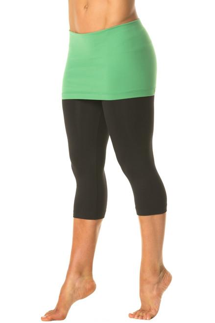 "Transformable Skirt 3/4 Leggings - FINAL SALE - Emerald Accent on Black Suppex - Medium - Skirt 13"""