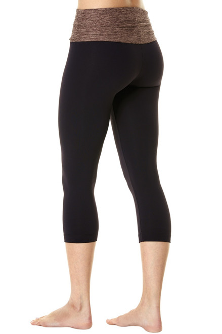 Rolldown 3/4 Leggings - Butter Khaki Accent  on Black Supplex - FINAL SALE - S, M & L