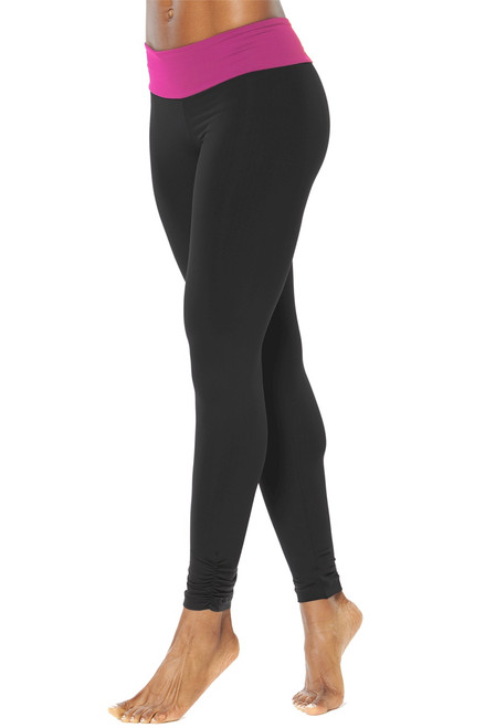 "Sport Band Gather Ankle Leggings - FINAL SALE - Orchid Accent on Black Supplex - XS - 28"" Inseam"