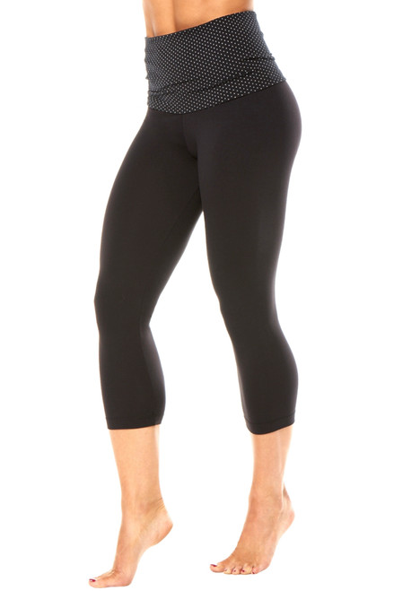 Polka Dot Print Rolldown 3/4 Leggings - Polka Dot on Black Supplex - Final Sale