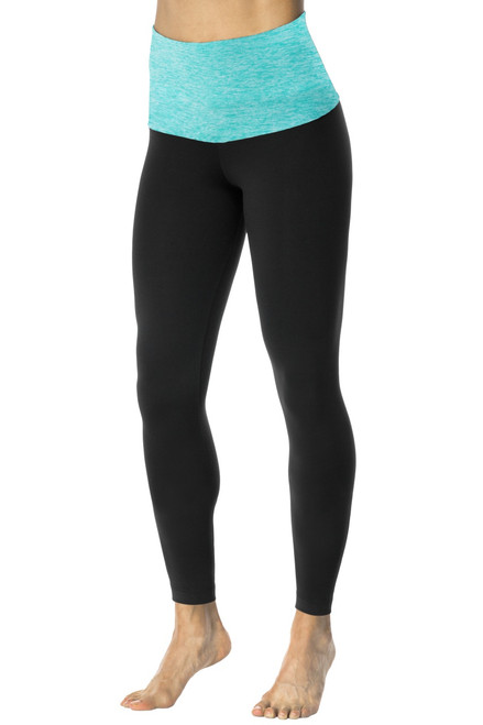 "Rolldown 7/8 Leggings - Final Sale - Butter Mint on Black Supplex - XS - 26"" Inseam"