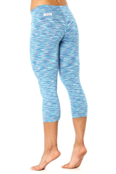 Water Turquoise Purple Sport Band 3/4 Leggings - FINAL SALE - SMALL (1 AVAILABLE)