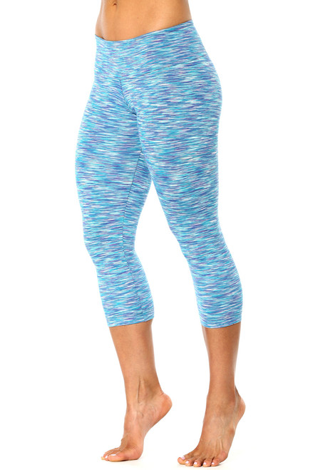 Water Turquoise Purple Sport Band 3/4 Leggings - FINAL SALE - MEDIUM (1 AVAILABLE)