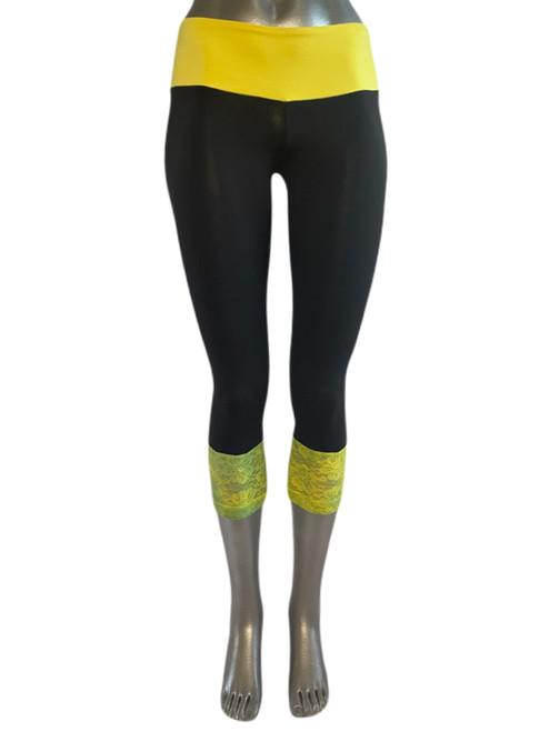 Yellow Sport Band Modella Lace Long Cuff 3/4 Leggings - FINAL SALE - SMALL (1 AVAILABLE)