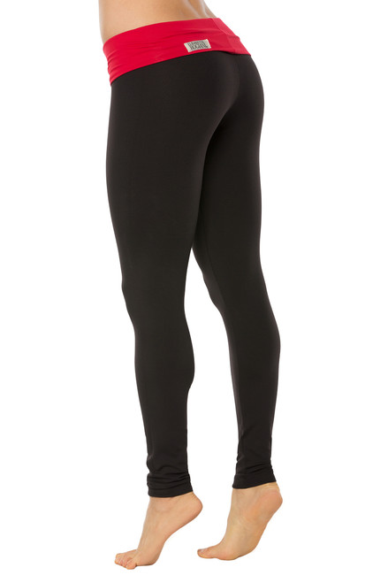"""Rolldown Leggings - Supplex - FINAL SALE - Vegas Red Accent on Black- XS - 26"""" Inseam (1 Available)"""