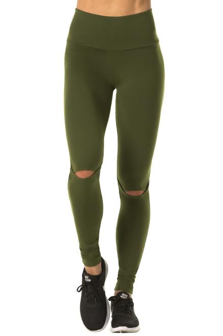 High Waist Striker Leggings - Solid Color Supplex