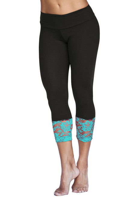Sport Band Modella Long Lace Cuff 3/4 Leggings - Turquoise on Black - FinalSale- Small (1 AVAILABLE)