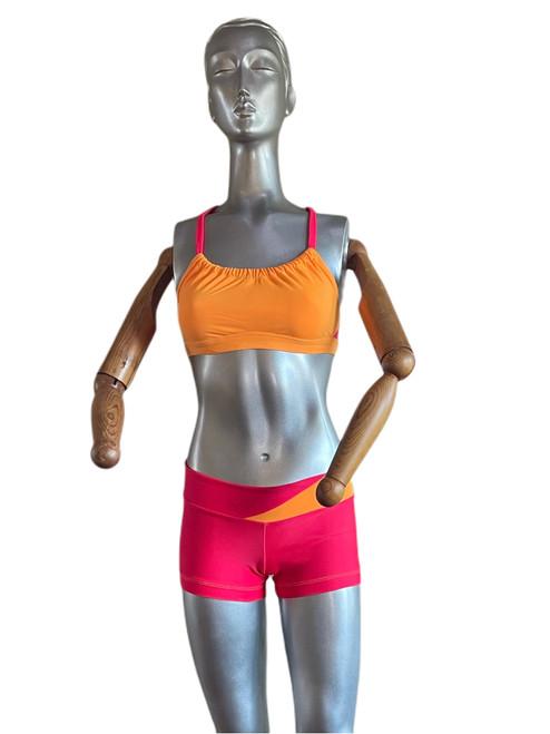 "Hot Orange and Begonia - Final Sale - Small bra & shorts -  2.5"" Inseam"