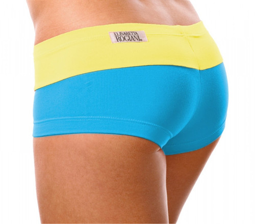 """Kiss Shorts - FINAL SALE - YELLOW ON BRIGHT TURQ - XSMALL - 2"""" INSEAM (1 AVAILABLE)"""