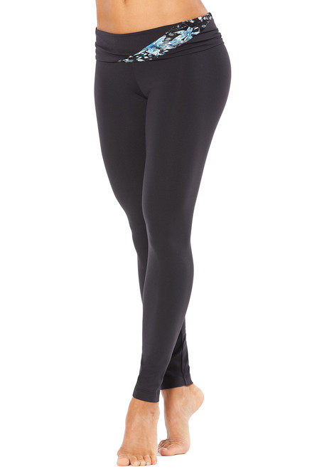 """Lace Wind Rolldown Leggings - FINAL SALE - BLUE FAIRY LACE ON BLACK - SMALL - 27"""" INSEAM (1 AVAILABLE)"""