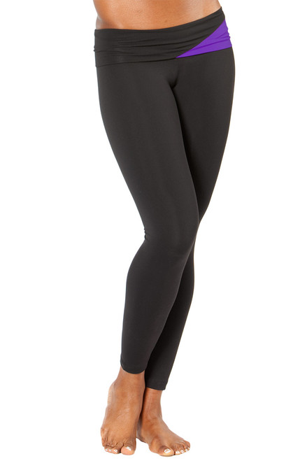 """Graphic Rolldown Leggings - FINAL SALE - AMETHYST ON BLACK - SMALL - 27"""" INSEAM (1 AVAILABLE)"""