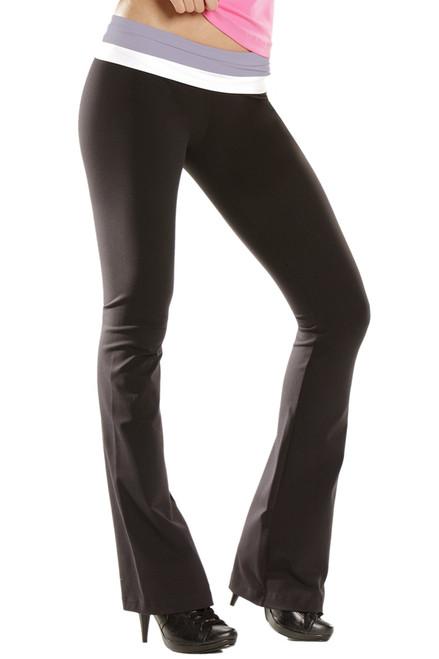"Double Rolldown Bootleg Pants - Supplex - FINAL SALE - Lavender & White Accent on Black - Medium - 35"" Inseam"