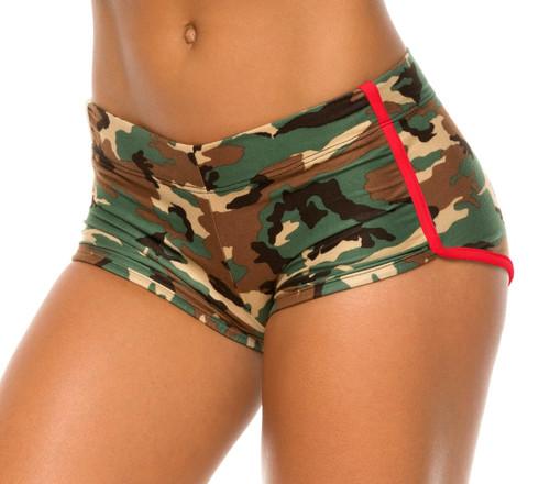 Retro Shorts - Camo Green
