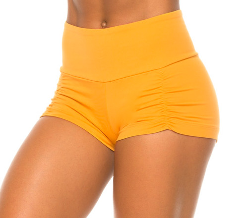 High Waist Kala Gather Front Shorts- Supplex