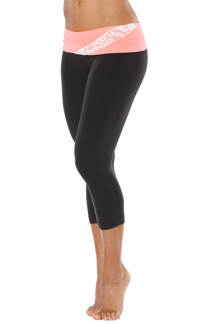 Lace Wind Rolldown 3/4 Leggings - FINAL SALE - CORAL AND WHITE LACE ON BLACK - SMALL (1 AVAILABLE)