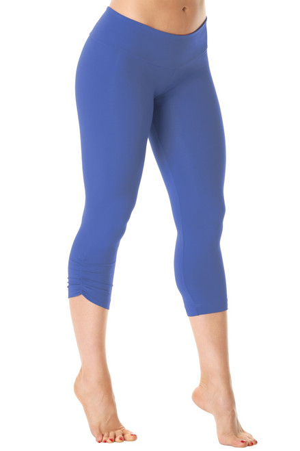 Sport Band Side Gather 3/4 Leggings - Supplex - Malibu - Final Sale