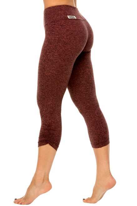 Sport Band Side Gather 3/4 Leggings - Double Weight Butter
