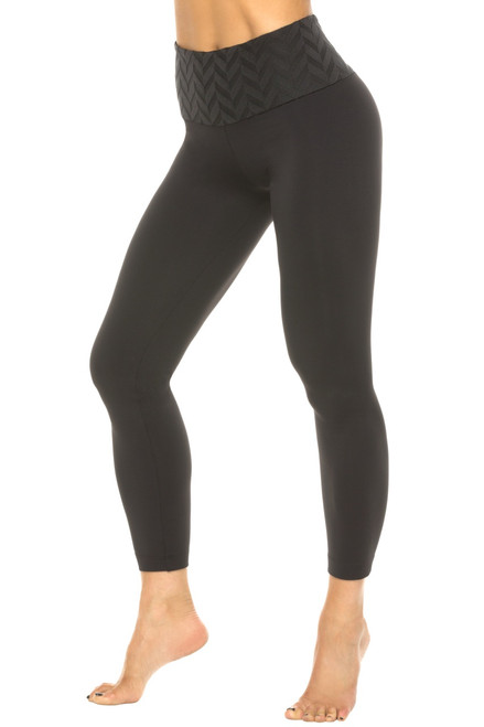 High Waist 7/8 Leggings - Chevron on Black Supplex - Final Sale