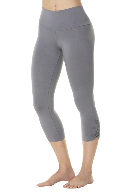 High Waist Side Gather 3/4 Leggings - Bamboo