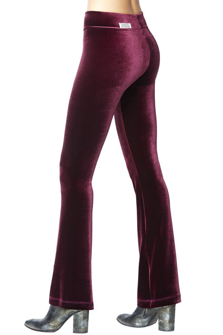 Mini Band Stretch Velvet Bootcut Pants - HIGH WAIST