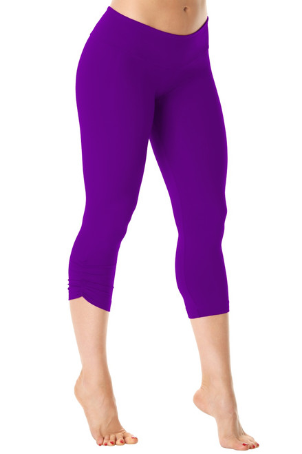 Sport Band Side Gather 3/4 Leggings - Supplex - Iris - Final Sale