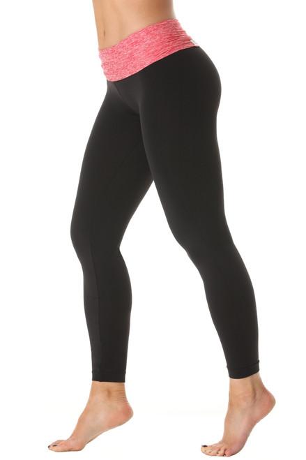 Rolldown 7/8 Leggings- Butter Red on Black Supplex - FINAL SALE - XS