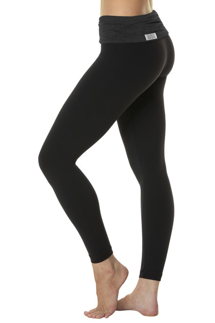 Rolldown 7/8 Leggings - Butter Dark Black on Black Supplex - FINAL SALE - XS