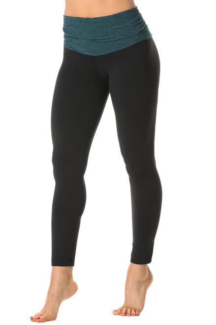 Rolldown 7/8 Leggings - Double Weight Butter Topaz  on Black Supplex -FINAL SALE - XSMALL
