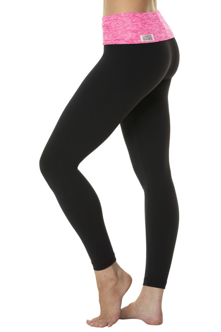 Rolldown  7/8 Leggings - Butter Fuchsia on Black Supplex - Final Sale - XSmall