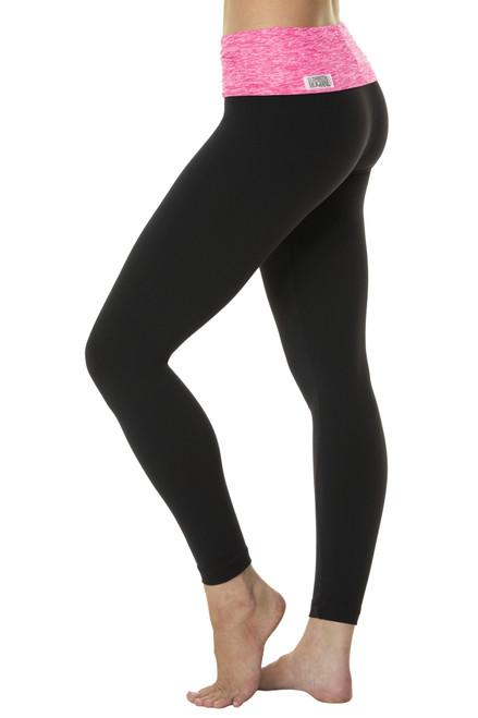 Rolldown  7/8 Leggings - Butter Fuchsia on Black Supplex - Final Sale - XSmall